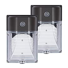 JMKMGL 26W LED Wall Pack with Photocell for Auto On and Off,3000LM 5000k Daylight White,150-250W MH/HPS Replacement DLC ETL-listed,Dusk to Dawn Security Area Lighting (2 Pack 26 Watt)
