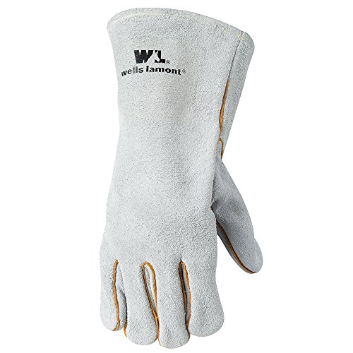 Wells Lamont 1059L Grey Lined Leather Welding Gloves, Large