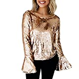 WENSY Women Stylish Sequins Tops,Casual Style O-Neck Backless Blouse (S, Gold)