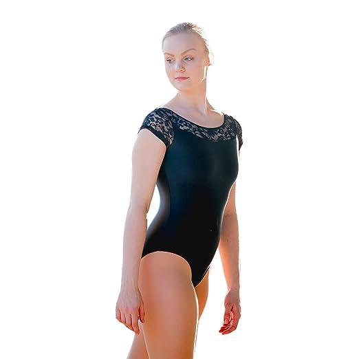 81350bd762 HDW DANCE Women Ballet Dancewear Cap Sleeve Leotard Shiny Lycra Lace  Bodysuit (S
