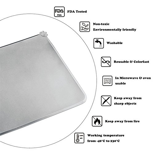 H&Zt Dog Food Mat, Silicone Pet Feeding Mats, Non Slip Waterproof Cat Bowl Trays Food Container Placemat for Small Animals (Grey) by H&Zt (Image #4)