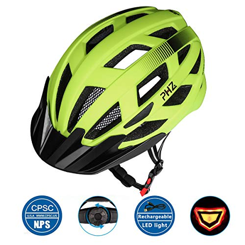 - PHZ Adult Bike CPSC Certified Helmet with Rechargeable Led Back Light/Detachable Visor Ideal for Road Ride Mountain Bike Bicycle for Men and Women