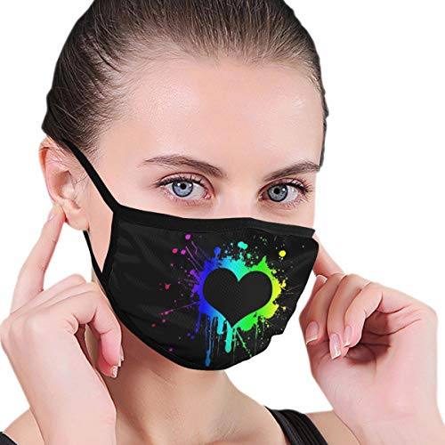 Funny Mouth Cover Dustproof Washable Reusable Heart Shape On Black Background Vintage Respirator Protective Safety Warm Windproof for Women Men