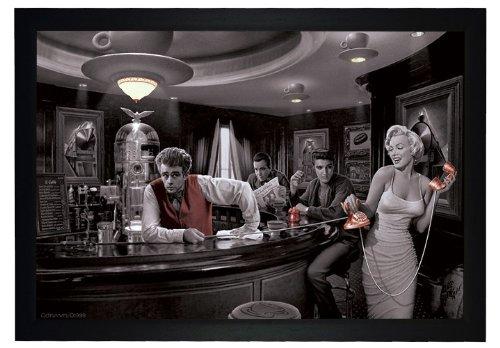 Java Dreams By Chris Consani    Marilyn Monroe James Dean Elvis Presley 24 X36  Framed Art Poster  E3 1006