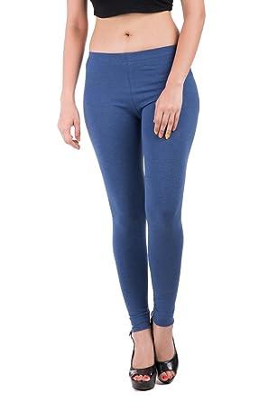 De Moza Ladies Leggings Ankle Length Cotton Melange Stretch Blue Melange  X-Small
