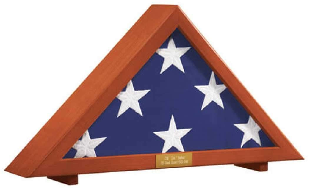 Flag Display Case Memorial with Personalized Brass Plaque 24 1 2 L x 12 H x 4 D