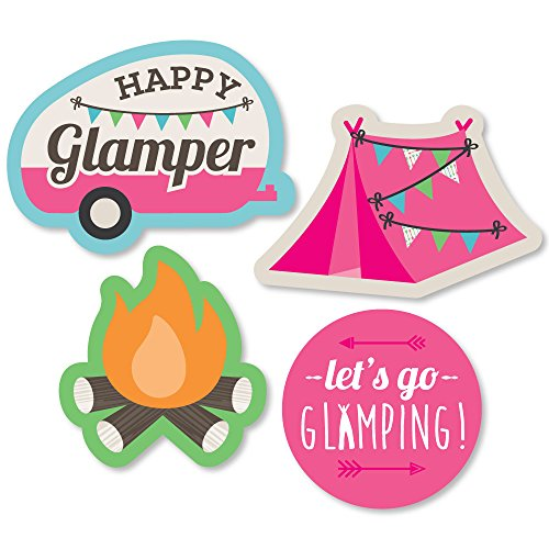Big Dot of Happiness Let's Go Glamping - DIY Shaped Camp Glamp Party or Birthday Party Cut-Outs - 24 Count]()