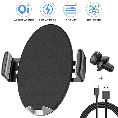 Wireless Car Charger, NANAMI Automatic Wireless Charging Phone Mount 7.5W Compatible iPhone X/XS/XS Max/XR/8/8 Plus, Air Vent Phone Holder 10W Compatible Samsung S9/S9 Plus/S8/S8 Plus/Note 9/8/S7 edge