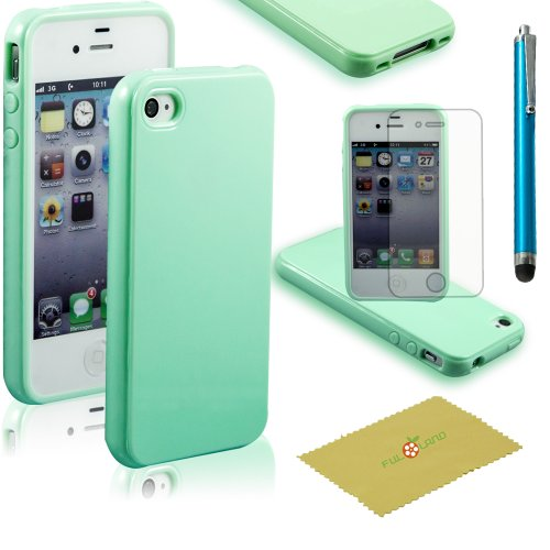 Fulland Premium Slim Fit Mint Green Flexible TPU Gel Soft Skin Case Cover For Apple Iphone 4 4S (Iphone 4 Cases Green)