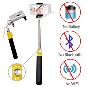 Looq G_Looq® True Wired-remote Shutter for Self Portrait Selfie Handheld Stick Monopod with Adjustable Phone Holder, No Bluetooth Matching, No Battery, No WiFi, No Limit Button Use, High Speed Shutter Response Time and Extendable Telescoping Selfie Pole for Android and iOS Smartphones(Samsung, HTC, Sony, iPhone etc.)