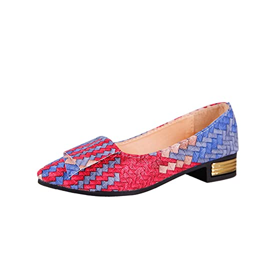 Mujer Damas Moda Mariposa Nudo Punta Redonda Casual Mocasines de Cuero Solos Zapatos LILICAT ✈✈ 2019 Mujer Chica Primavera Colores Mezclados Zapatos ...