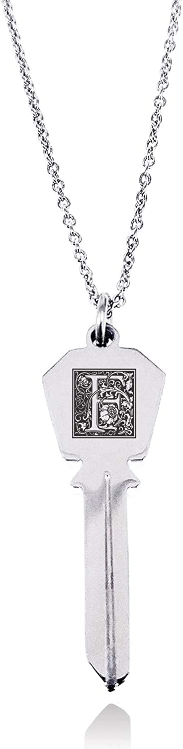 Tioneer Stainless Steel Letter F Initial Floral Box Monogram Hexagon Head Key Charm Pendant Necklace