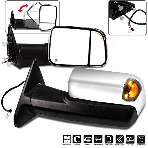 ECCPP Towing Mirrors, High Performance Chrome A Pair of Exterior Automotive Mirrors for Dodge Ram 1500 2500 3500 2009-2017 with Power Operation-(main glass) Heated Arrow Signal Puddle (Chrome Exterior Mirror)
