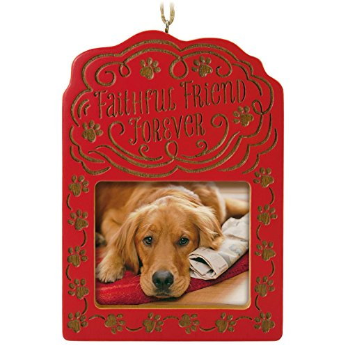Pet Christmas Cards Personalized - Hallmark Keepsake 2017 Faithful Friend Forever Pet Bereavement Photo Holder Dated Christmas Ornament