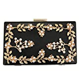 Pearl Box Evening Clutch with Beads, Elegant Acrylic Clutch Purse Bag for Women Girls Ladies, Fashion Hard Case Evening Bag for Daily Life Prom Ball Shopping Party Club (Black)