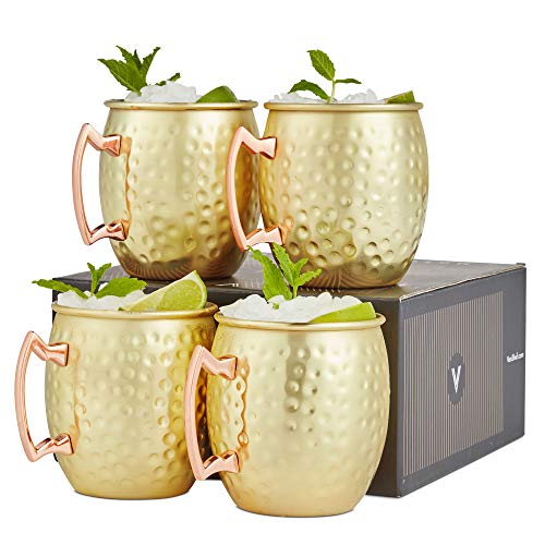 VonShef Moscow Mule Mugs Set of 4 Gold Hammered Effect Barrel Style 16oz Glasses With Gift - Set Tankard