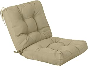 QILLOWAY Outdoor Seat/Back Chair Cushion Tufted Pillow , Spring/Summer Seasonal All Weather Replacement Cushions. (Beige)