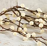 Factory Direct Craft 6 feet of Flexible Artificial Cream Berry Garland for Christmas Holiday Decorations - Weatherproof Vinyl Garland - Use Indoors or Outdoors