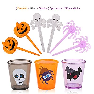 PBPBOX 72 Pack Halloween Food Picks 6 Cups Cupcake Toppers with Glitter Spider Pumpkin Skull Design for Halloween Party Supplies Halloween Party Decorations from PBPBOX