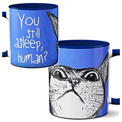 Cat Fan related Products Peeking Cat Mug by Pithitude – One Single 11oz.Blue Coffee Cup [tag]