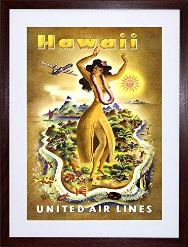 (TRAVEL HAWAII UNITED AIRLINE TROPICAL VINTAGE ADVERT ART FRAMED PRINT F12X1381 )