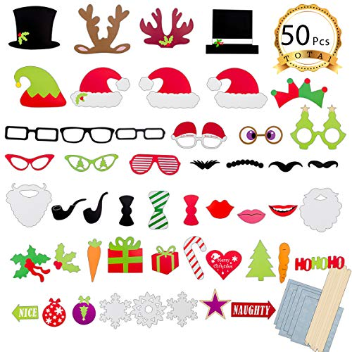 ANPHSIN 50 PCS Christmas Photo Booth Props Kit, DIY Ugly Xmas Sweater Photo Booth Stick,Funny Holiday Selfie Props Accessories for Adults Kids Christmas Theme Party Posing Cards]()