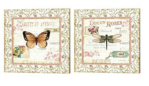 Rose Garden by Lisa Audit, 2 Piece Canvas Art Set, 14 X 14 Inches Each, Animal Art - Lisa Audit Rose