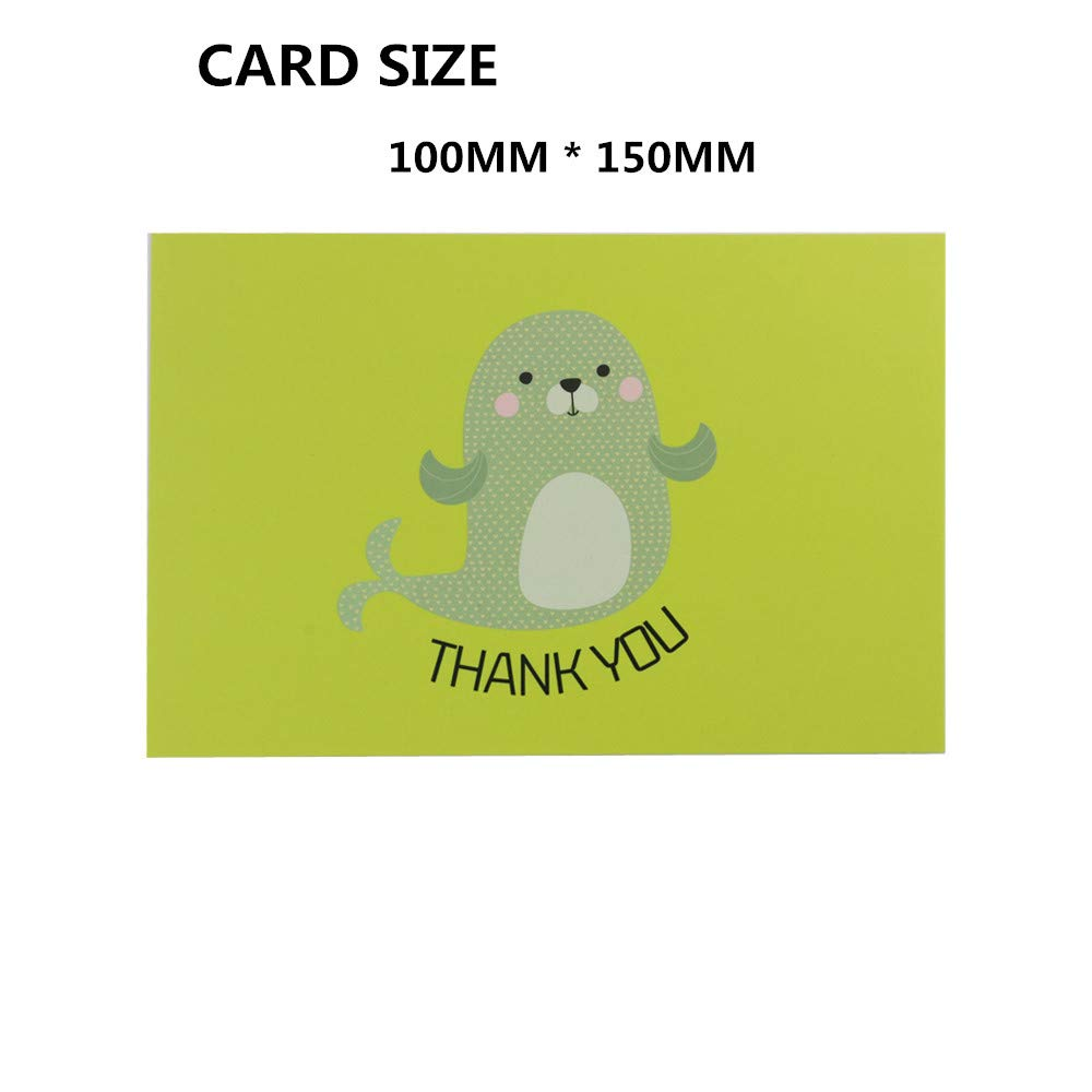 Fullive 24 Thank You Cards,6 Cartoon Animal Pattern Designs Thank You Notes Greeting Card with Envelops for All Occasion-Blank Inside (24 animal) by Fullive (Image #2)