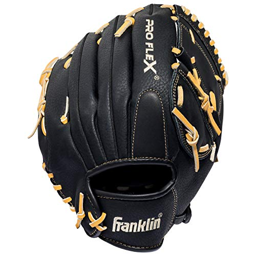 (Franklin Sports Pro Flex Hybrid Series Baseball Fielding Glove, Right Hand Throw, 12-Inch, Black/Camel)