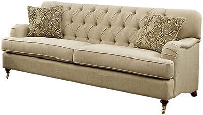 Benzara BM137976 Transitional Style Tufted Sofa, Beige