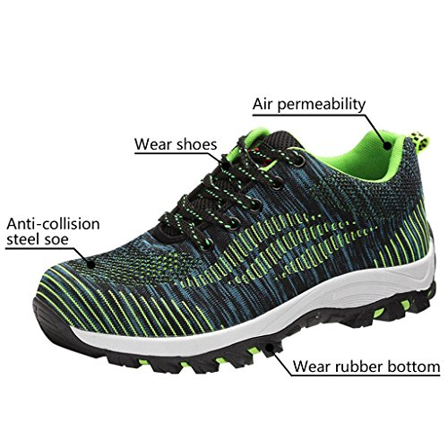 Optimal Safety Green Steel Men's Shoes Toe Work Shoes Bright Shoes 66Przq