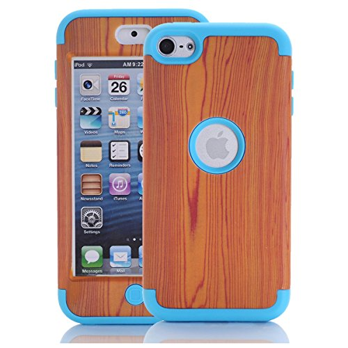Price comparison product image iPod Touch 6th Generation Case, iPod Touch 6 Case ,SAVYOU 3 in 1 Wood grain pattern Hybrid Hard Case Cover with Soft Silicone Inner Case for Apple iPod Touch 5/ 6(Blue)
