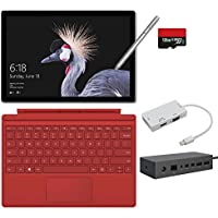 2017 New Surface Pro Bundle ( 6 Items ): Core m3 4GB RAM 128GB Tablet, Surface Dock, Surface Pen Silver, Surface Pro Type Cover Red (2016),128GB Micro SD Card,Mini DisplayPort Adapter