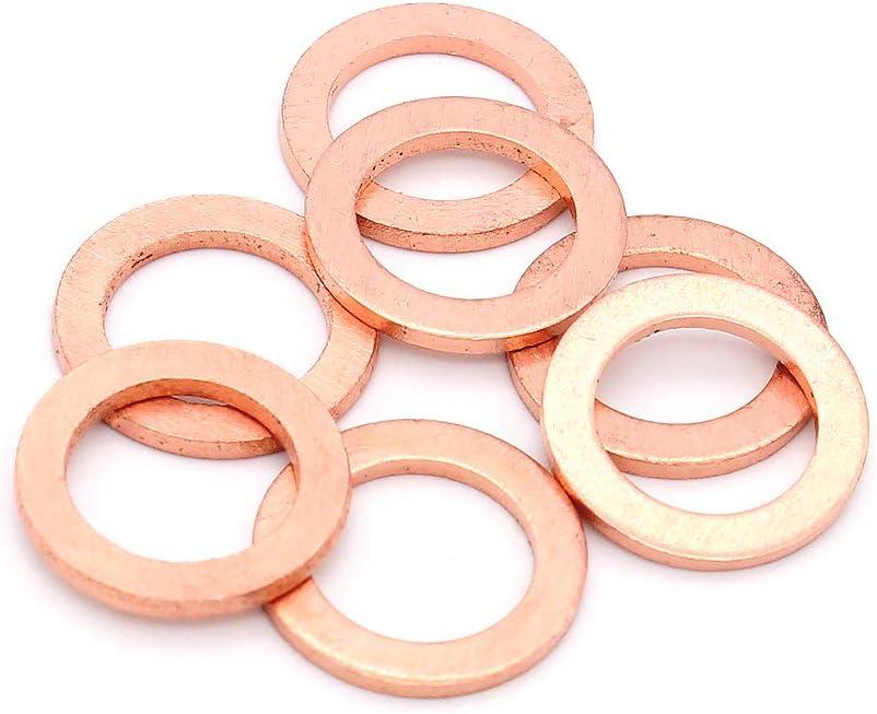 Yuhtech Flach Unterlegscheiben 200 St/ück Kupferdichtringe Kupfer Flache Scheibe Dichtring Sortiment Kit M5-M14