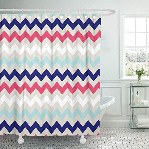 Abaysto Beige Coral Navy Chevron Pattern Blue Baby Aqua Home Decor Shower Curtain Sets with Hooks Polyester Fabric Great Gift ()