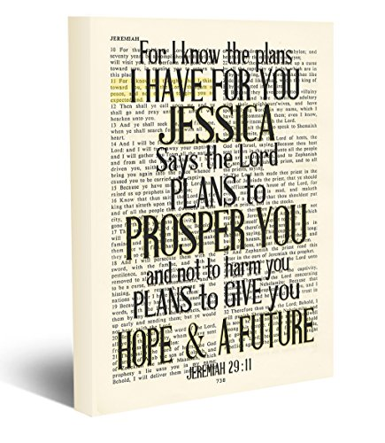 Custom Vintage Bible page PERSONALIZED verse scripture For I know the Plans Jeremiah 29:11 Christian wrapped CANVAS, dictionary wall & home decor, graduation gift