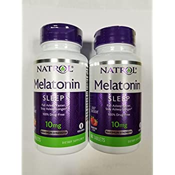 Natrol Fast Dissolve Melatonin Tablets 10 mg, Strawberry 60 ea (Pack of 2)