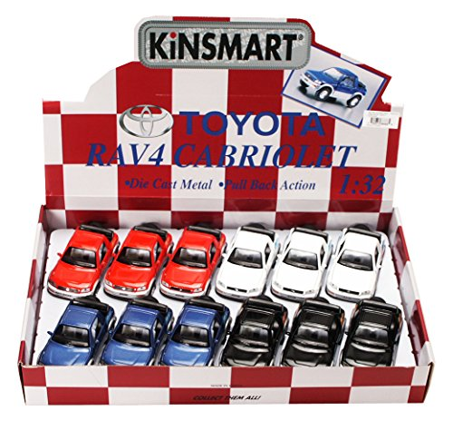 - KiNSMART Toyota Rav4 Cabriolet Diecast Car Package - Box of 12 1/32 Scale Diecast Model Cars, Assorted Colors
