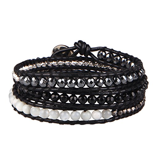 KELITCH Black Onyx, Gray Hematite Beads, Shell-pearls and Metal Nugget 3 Wrap Leather Bracelet (Nugget Shell Beads)