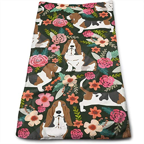 Basset Hound Florals Microfiber Towel,Perfect Sports & Travel &Beach Towel. Fast Drying - Super Absorbent - Antibacterial-Ultra Compact.