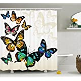Ambesonne Butterfly Decor Shower Curtain, Monarch Butterflies Shades and Shadows Ombre Background, Polyester Fabric Bathroom Set with Hooks, 69W X 70L Inches, Blue Pink Green and Yellow