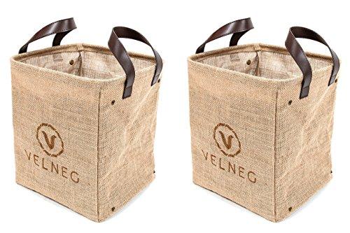 Velneg Jute Cube Storage Bins Basket Containers 2 Pack, Waterproof / Collapsible, Small Laundry Basket Sorter, Decorative Storage Bins, Organizing Bins, Farmhouse Basket, Vintage / Rustic Decor