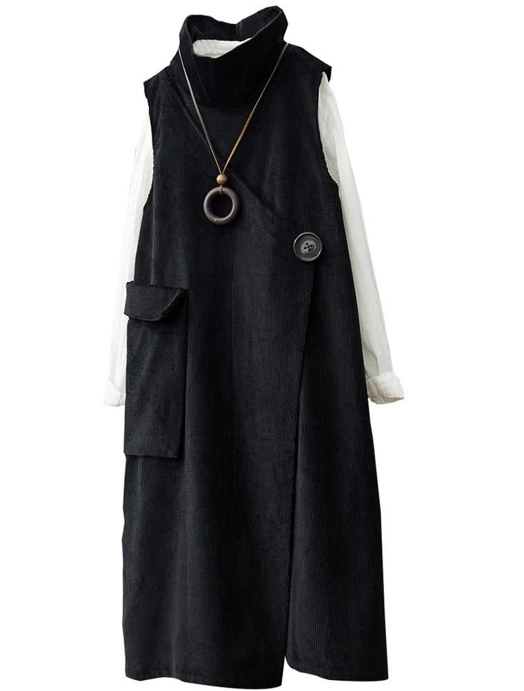 Minibee Women's Turtleneck Dress Sleeveless Pullover Corduroy Tunic Vest with Big Pocket Black