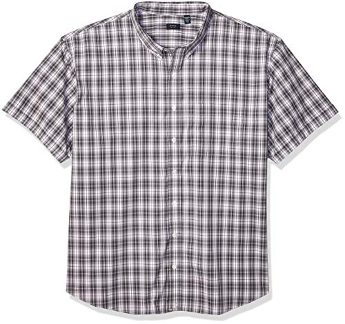 Arrow 1851 Men's Big and Tall Hamilton Poplins Short Sleeve Button Down Plaid Shirt, Shark Skin 1, 4X-Large ()
