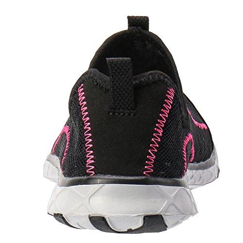 ALEADER Womens Mesh Slip on Water Shoes Black/Fushia bz3YhC7