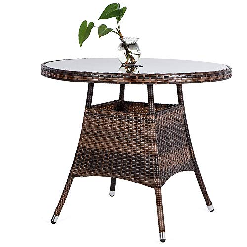 """LUCKUP 36"""" Round Patio PE Brown Wicker Dining Table Tempered Glass Top Umbrella Stand Table Outdoor Furniture Garden Table Backyard Pool Balcony Porch,Brown"""