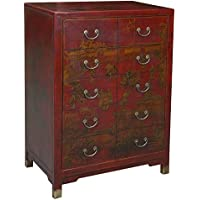 EXP Handmade Oriental Furniture, 42, Antique Style Red Leather Dresser