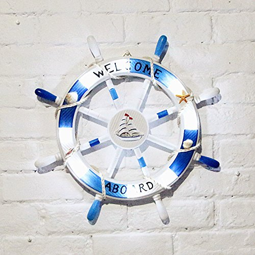Shozafia Nautical Beach Wooden Boat Ship Steering Wheel Home Wall Decor - Blue/White 45cm with Light