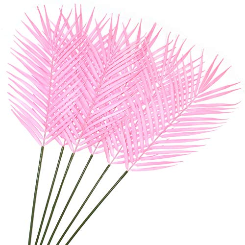 Pink Leaves - Artificial Palm Leaves Tropical Areca Plant Faux Plants Monstera Leaves Floral Arrangement Safari Leaves Hawaiian Luau Jungle Beach Birthday Table Leave Party Suppliers Decorations (Pink)