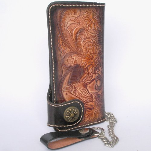 CHAIN COW HIDE CLUTCH AND WALLET WITH BIKER FROM TRUCKER MADE Hnw8XWxR1q